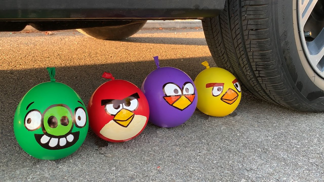 Experiment Car vs Angry Birds vs Slime Piping Bags   Crushing Crunchy & Soft Things by Car   Test S