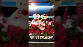 Свадебное украшение на машину ,пионы,мишки.