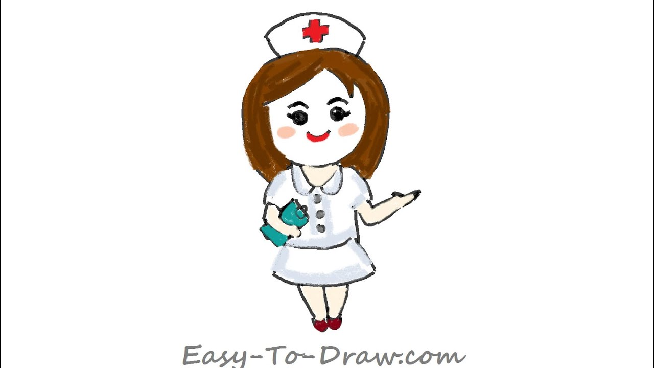 How To Draw A Cartoon Registered Nurse With A Notebook In Hand