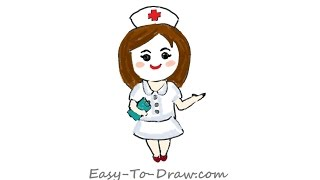 How to draw a cartoon registered nurse with a notebook in hand - Free & Easy Tutorial for Kids