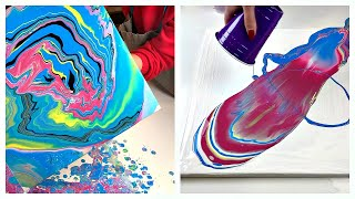 Daily Challenge #6 / Acrylic Pouring /easy and fast acrylic paint compilation