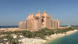 Flying to the Atlantis Hotel heliport over Palm Jumeirah Island in Dubai.