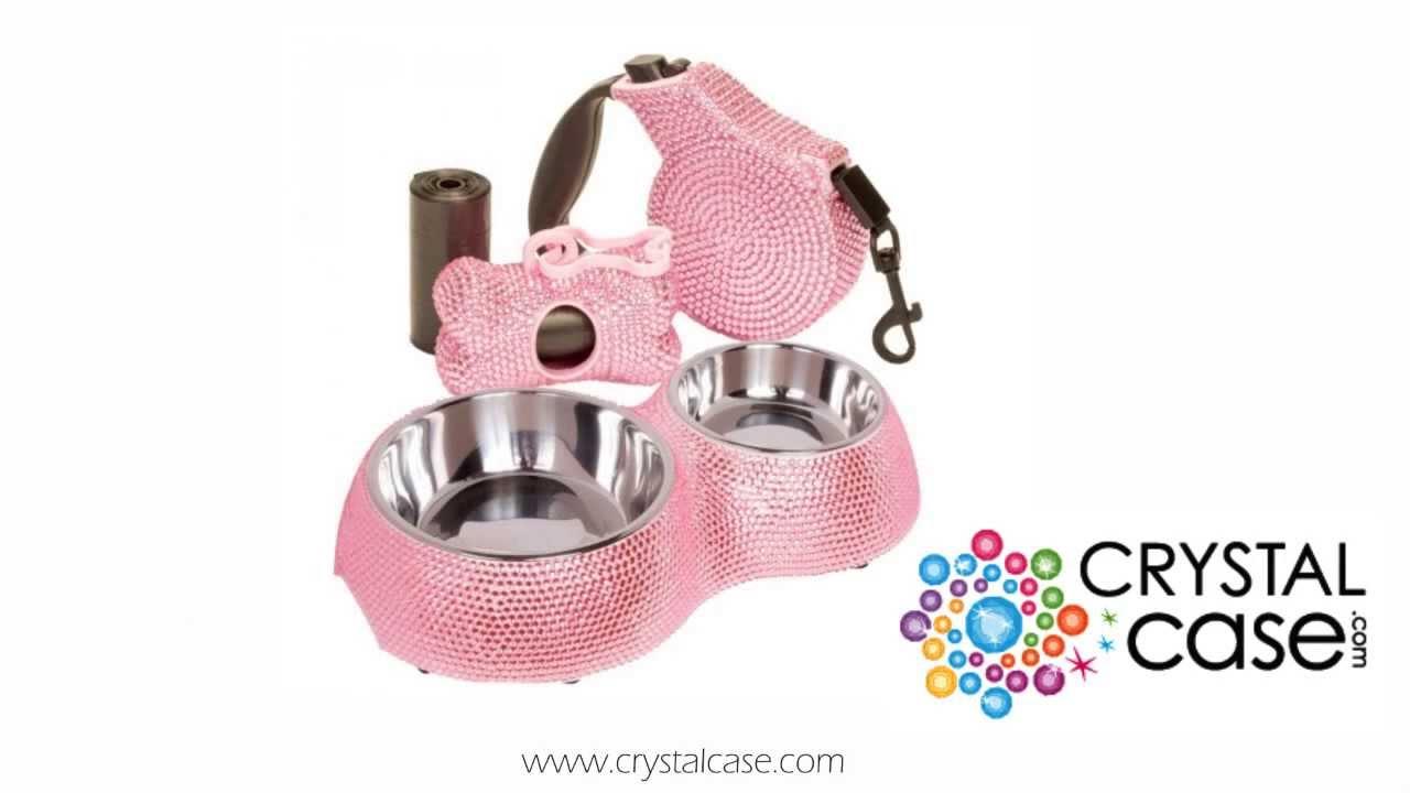 Crystalcase Pink Rhinestone Small Dog Bowl W Matching