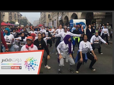 تمارين للفتيات قبل انطلاق ماراثون للجرى بمصر الجديدة  - 10:54-2018 / 11 / 30