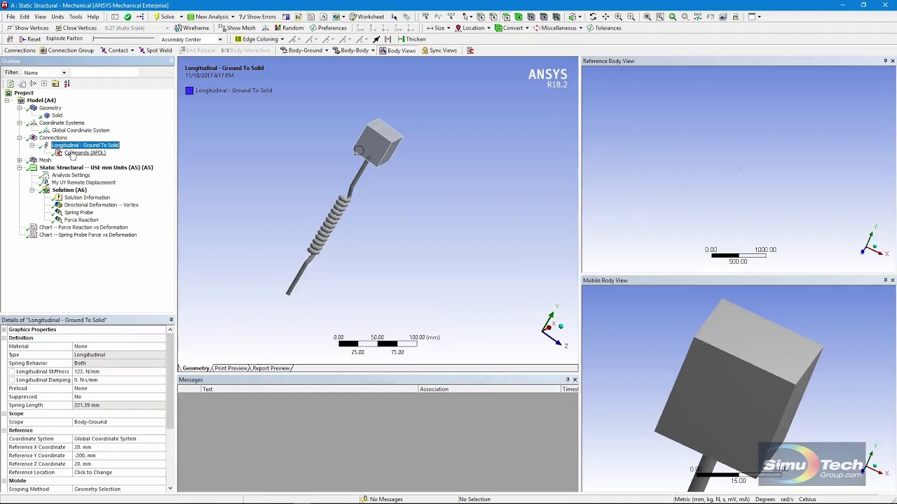 How to implement a nonlinear COMBIN39 spring in ANSYS Workbench Mechanical  with APDL Commands