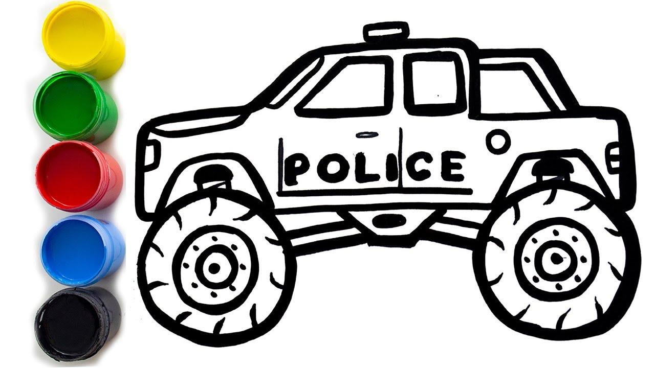 ✅Cara Menggambar Dan Mewarnai MONSTER TRUCK POLISI CARA GAMBAR MOBIL UNTUK ANAK ANAK