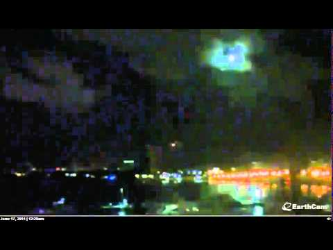 Strange moon and clouds over Miami Beach