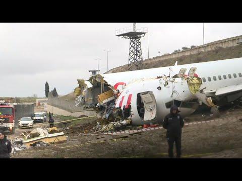 Scene of Turkish plane after it skidded off Istanbul runway killing three   AFP
