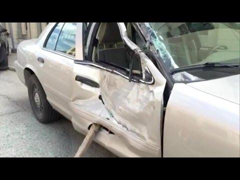 Witness describes Winnipeg police cars damaged by truck