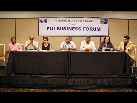 Fijian Ministers at the panel discussion of Fiji Business Forum 2016.