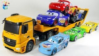 Learning Color Disney Cars Lightning McQueen and bigsize car carrier play funny video for kids