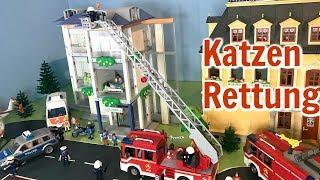 Die Katzen Rettung I FEUERWEHR Rettungsaktion - Familie Tamtam - Playmobil Film - Kinder Spielzeug