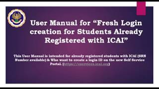 """Students:User Manual for """"Fresh Login creation for Students Already Registered with ICAI"""" thumbnail"""