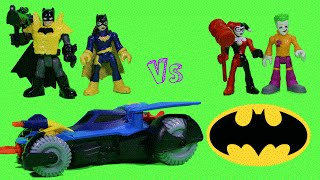 imaginext batman and batgirl vs joker and harley quinn with help from the flash