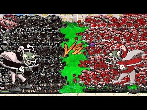 99999 Football Zombie vs 99999 Gargantuar  Plants vs Zombies