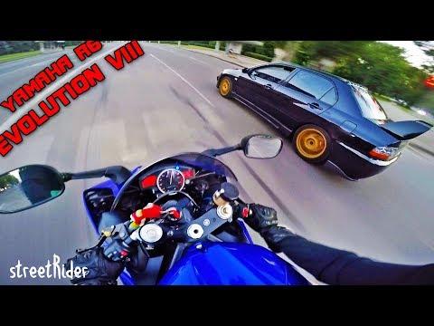 ДВА ПРИДУРКА ГОНЯЮТ В ЦЕНТРЕ ГОРОДА || Mitsubishi EVO 8 vs Yamaha R6 - Видео онлайн
