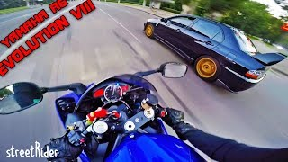 ДВА ПРИДУРКА ГОНЯЮТ В ЦЕНТРЕ ГОРОДА || Mitsubishi EVO 8 vs Yamaha R6