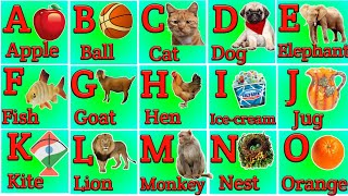 A for apple b for ball,alphabets for kids,phonics sounds with image,Kids learning animation video