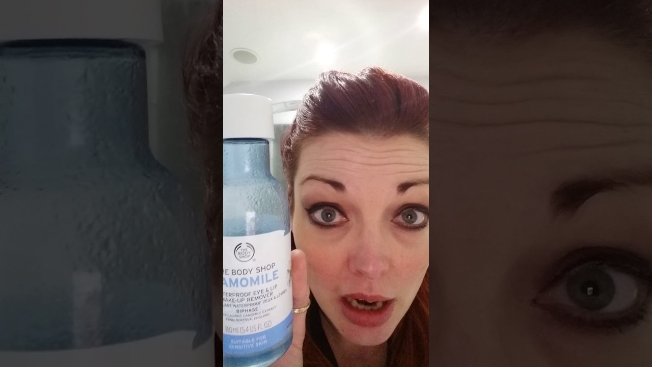 Demo of Camomile waterproof eye & lip makeup remover from The Body Shop