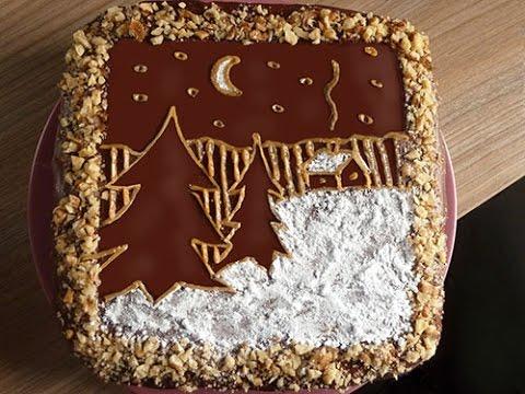 Как украсить домашний новогодний торт своими руками - YouTube