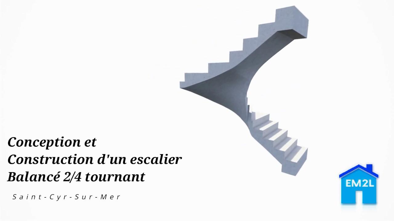 Escalier Balancé 2 4 Tournant Béton