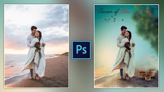 Couple Pre-Wedding Photo Editing in Photoshop | Couple Photography | Romantic Couple on Beach Photo