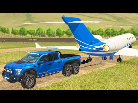 Ford 6x6 DESTROYS Jet in a Tug of War! (Ford Velociraptor)   FS19