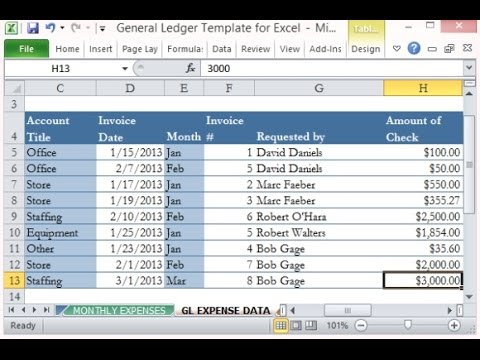 How To Create General Ledger And Trial Balance With Excel - Youtube