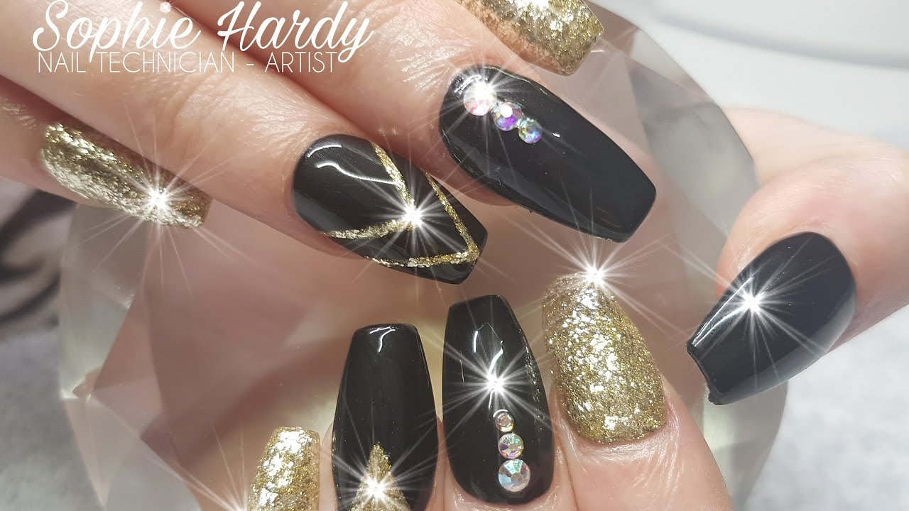 Acrylic Nails Gloss Black & 24k Gold Leaf Nail Design - Acrylic Nails Gloss Black & 24k Gold Leaf Nail Design - YouTube