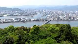 高知市丸山台がほぼ陸続きに2013年4月27日1時ごろ五台山より 普段は船で...