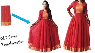 Diwali Special: Convert Your Old Saree in to Designer Festive Wear Long Anarkali Dress