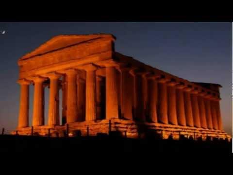 GREEK TEMPLES AT NIGHT.