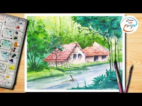 Watercolour painting of beautiful landscape scenery//village landscape..By Draw with Avijit