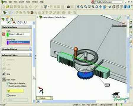 Solidworks Tutorials By Solidprofessor Rack And Pinion Mate