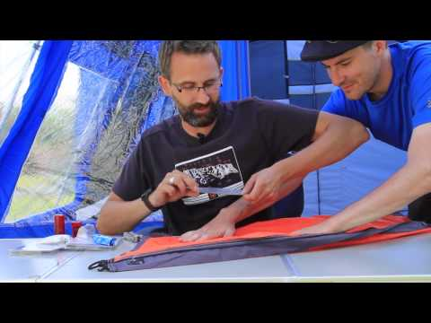 How to mend a rip in a tent's fabric or seam