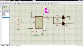 Proteus Simulation Software : Dual LED flashing Project Using 555 Timer IC
