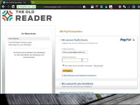 The Old Reader - Cannot pay with paypal