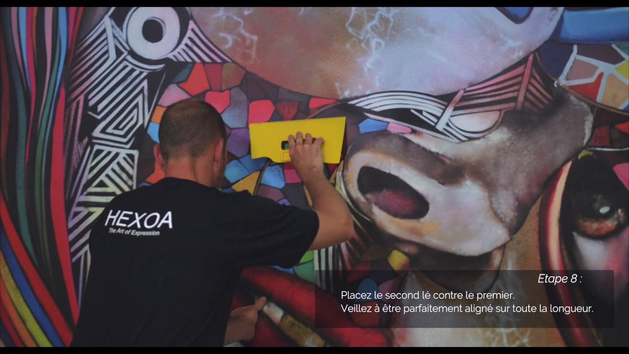 Comment poser votre papier peint pré-encollé - Hexoa - YouTube