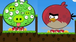 Angry Birds Cannon 3 - PUSH THE 100 EYES PIGGIES WITH TERENCE TO RE...