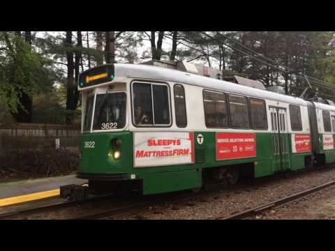 Some MBTA Green Line Trains In The Pouring Rain