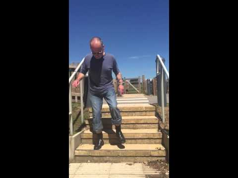 Martin walking down stairs, right foot first. 30/06/15