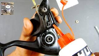 Mantenimiento de carrete, manivela, guia hilos y pick up || How to keep fishing reel
