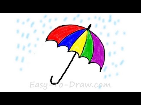 How to draw a cartoon umbrella in the rain free easy tutorial for kids youtube