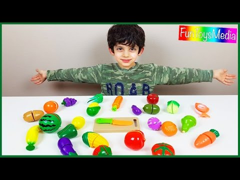 Learning and Cutting Fruits and Vegetables for Children, Toddlers and Babies with Toy Food