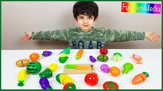 Learning and Cutting Fruits and Vegetables with Toy Food