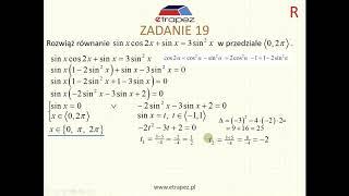Równanie trygonometryczne (Kurs Matura Rozszerzona cz.2 eTrapez)