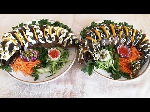 Рыба фаршированная грибами с овощами на праздничный стол