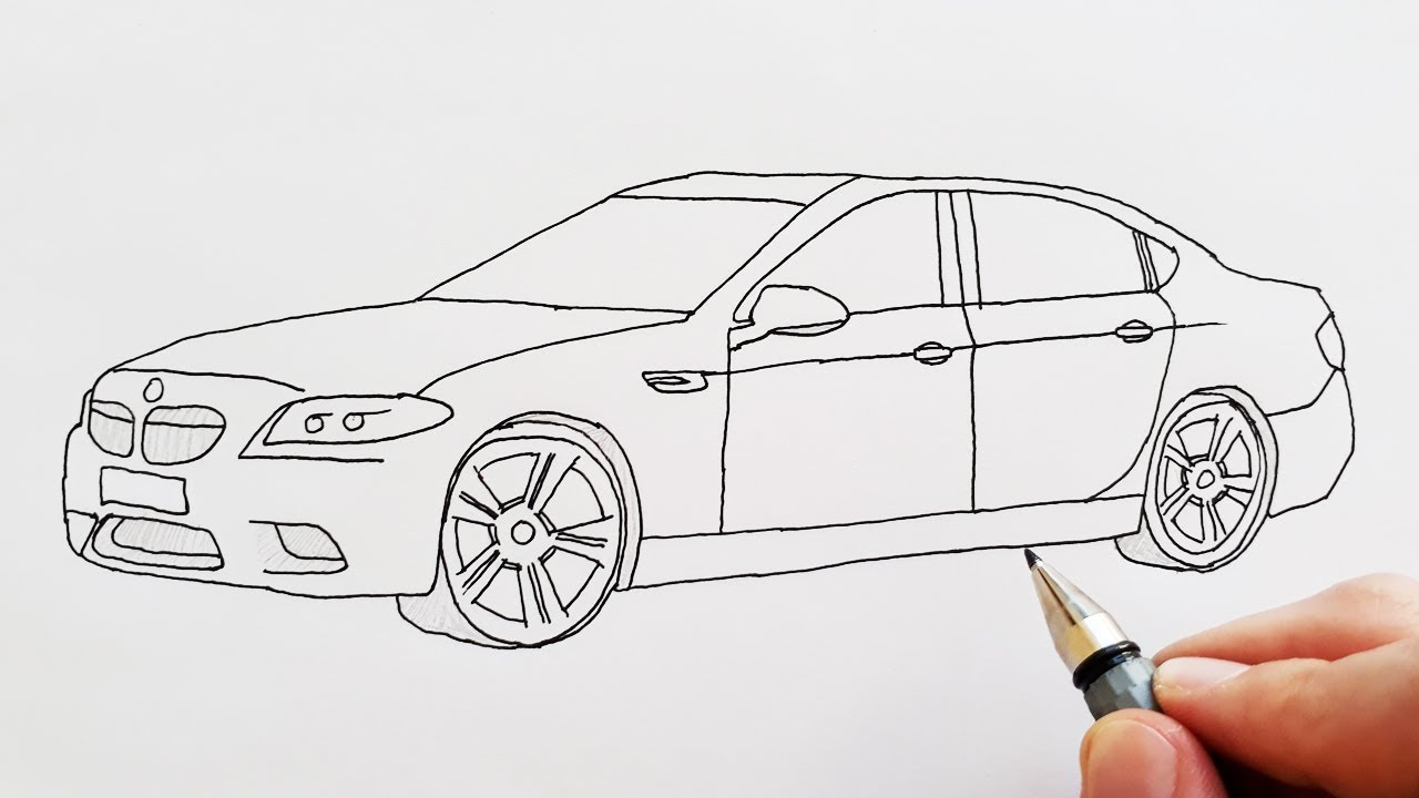 How To Draw A Sport Car Bmw Easy Step By Step For Kids Cok Kolay
