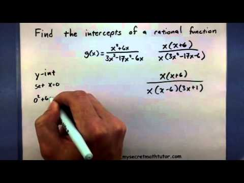 Pre-Calculus Find the intercepts of a rational function