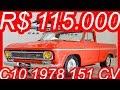 #PASTORE R$ 115.000 #Chevrolet #C10 1978 Laranja 261 MT4 #RWD 4.3 151 cv 32 kgfm #ChevroletC10 #GM